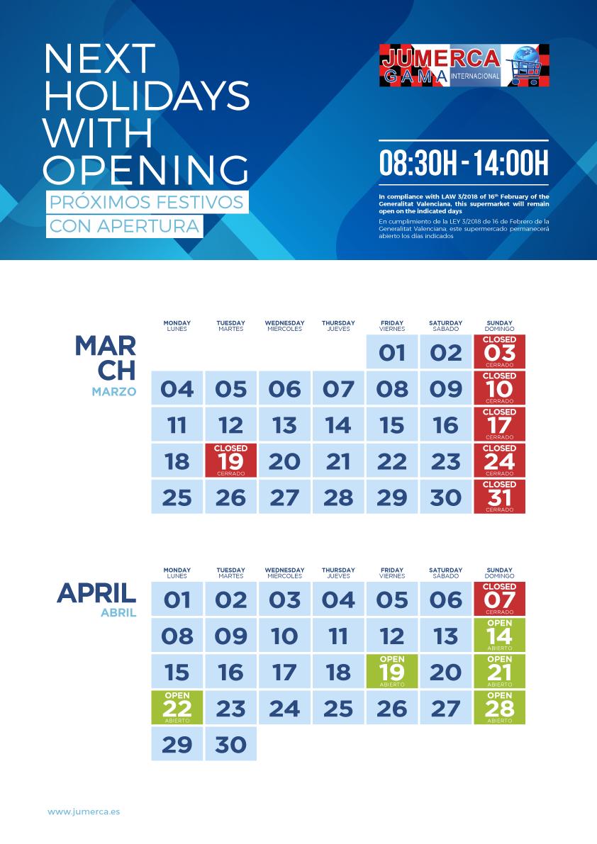 Jumerca CARTEL FESTIVOS A3 02 MAR-ABR 2019 901-905