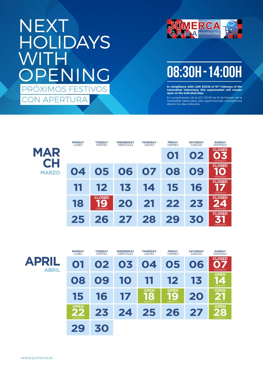 Jumerca CARTEL FESTIVOS A3 02 MAR-ABR 2019 903-904