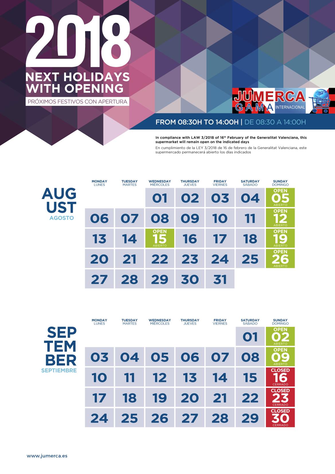 Jumerca CARTEL FESTIVOS A3 04 AGOSTO-SEPTIEMBRE 901-902-905