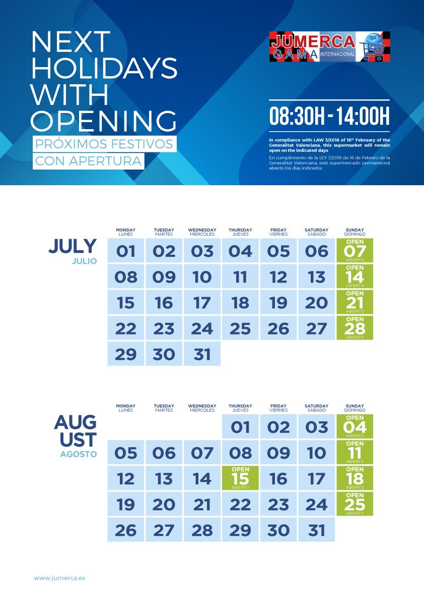 Jumerca CARTEL FESTIVOS A3 04 JUL-AGO 2019 901