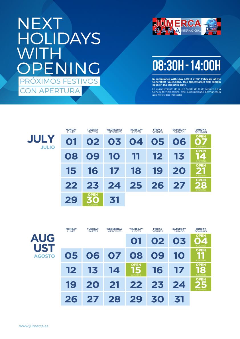 Jumerca CARTEL FESTIVOS A3 04 JUL-AGO 2019 905