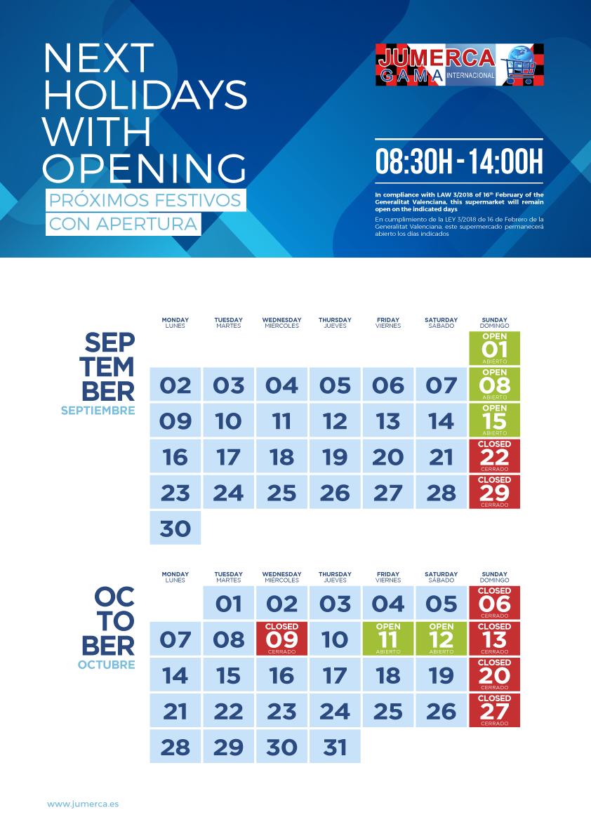Jumerca CARTEL FESTIVOS A3 05 SEP-OCT 2019 905