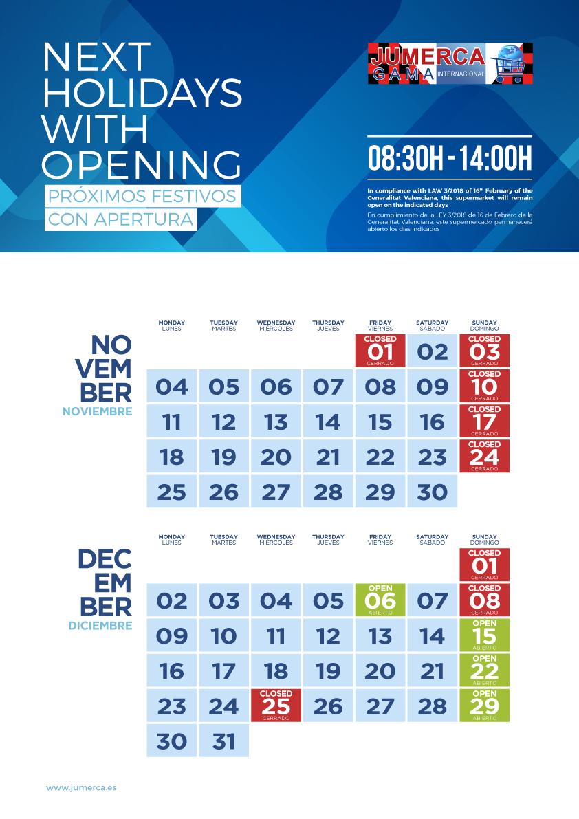 Jumerca CARTEL FESTIVOS A3 06 NOV-DIC 2019 901-905