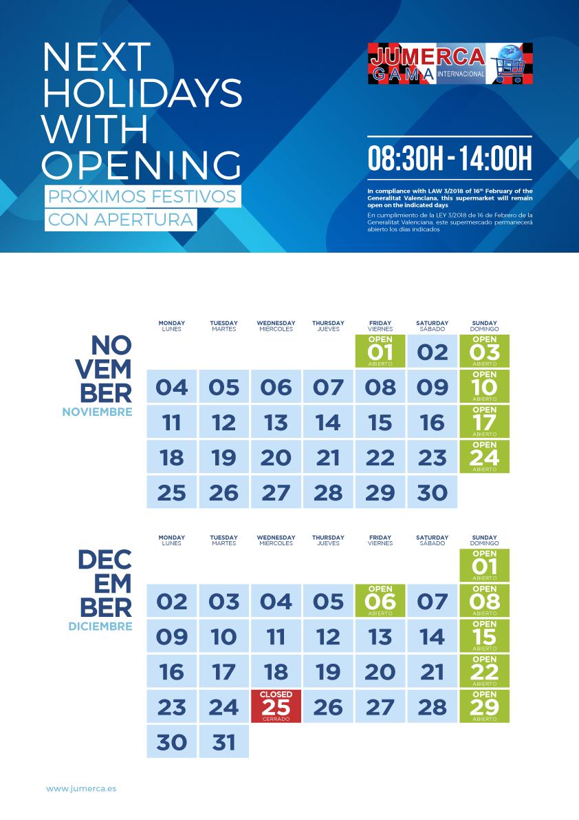 Jumerca CARTEL FESTIVOS A3 06 NOV-DIC 2019 903-904